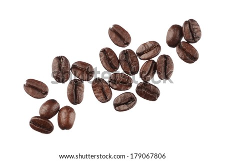 Coffee beans isolated on white background close up - stock photo