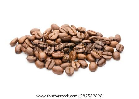 Coffee beans isolated on white background, closeup, macro - stock photo