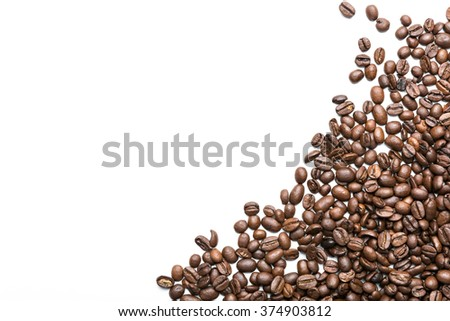 coffee beans isolated on white background, heart shape - stock photo