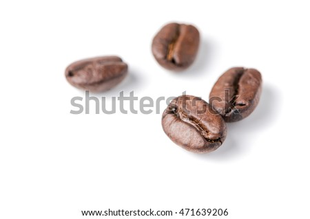 coffee beans isolated on white background, soft and selective focus