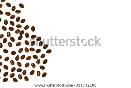 Coffee beans isolated on white background with space,3d - stock photo