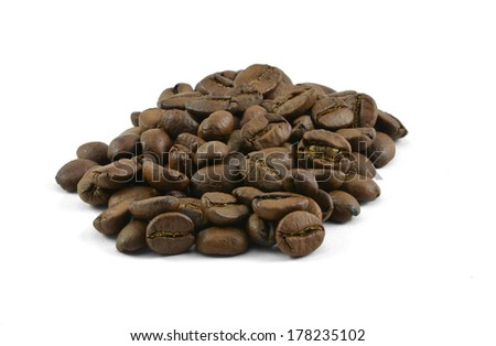 Coffee beans isolated with clipping path - stock photo