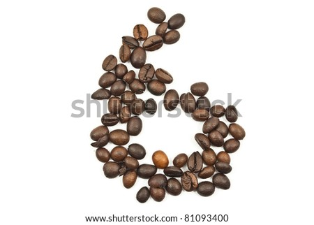 Coffee beans 6 number isolated on the white.