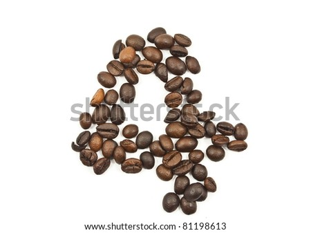 Coffee beans number 4 isolated on the white. - stock photo