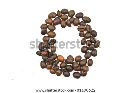Coffee beans number 0 isolated on the white. - stock photo