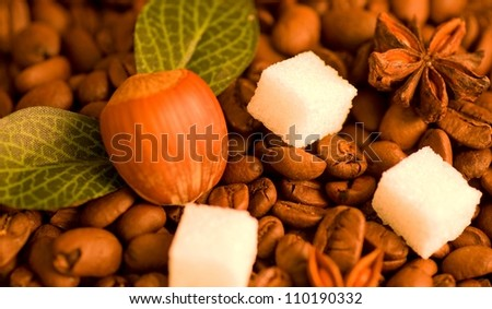 Coffee beans, nut and sugar background - stock photo