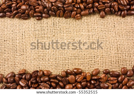 Coffee beans on a jute background - stock photo