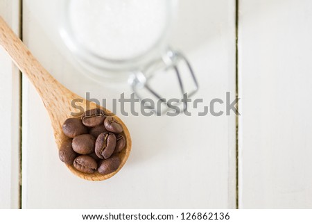 Coffee beans on a spoon