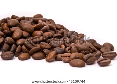 Coffee beans on a white background - stock photo