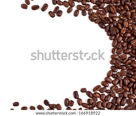 coffee beans on a white background. Frame. texture - stock photo