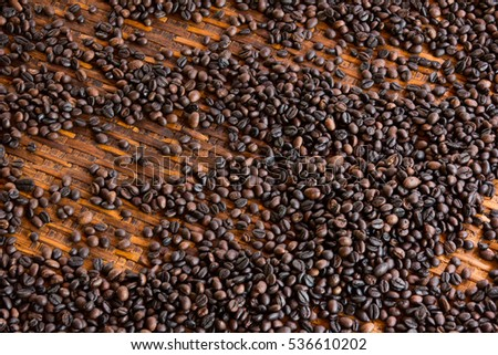 Coffee beans on bamboo tray