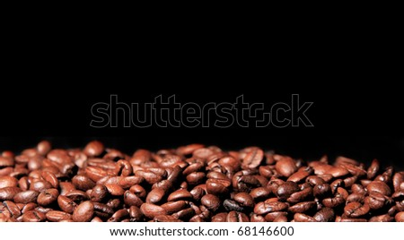 COffee beans on black background - stock photo