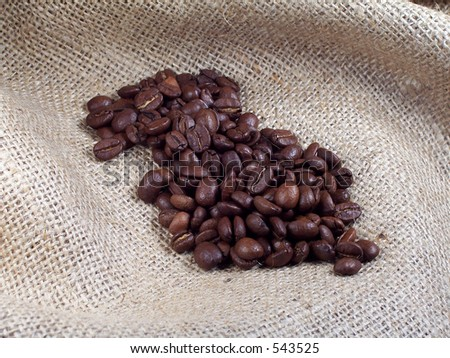 Coffee Beans on Burlap. - stock photo