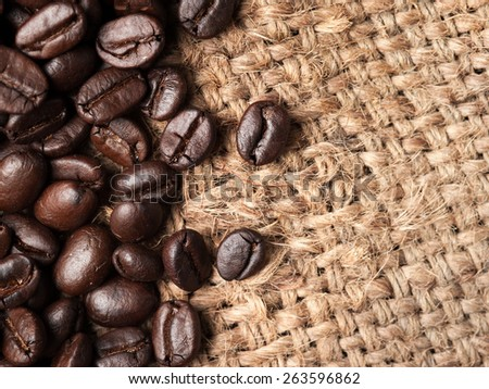 coffee beans on canvas,Selective focus  coffee beans
