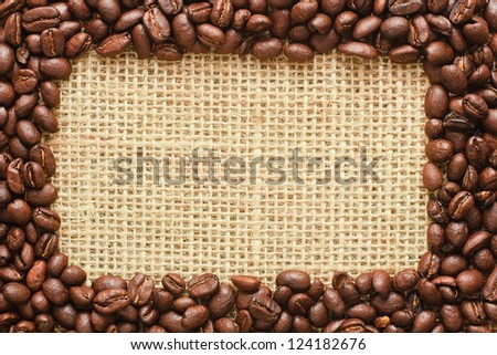 coffee beans on sacking background