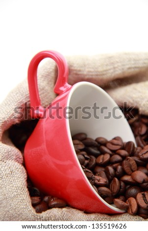 coffee beans on Valentine Day - stock photo