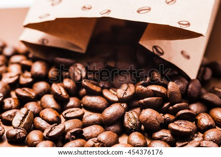 coffee beans.Roasted coffee beans goals.Packaging for coffee - stock photo
