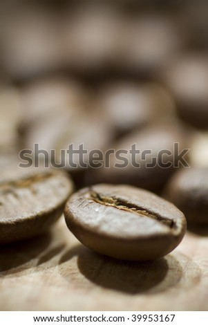 coffee beans, selective focus - stock photo