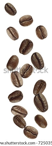 coffee beans shot as if falling from above - stock photo