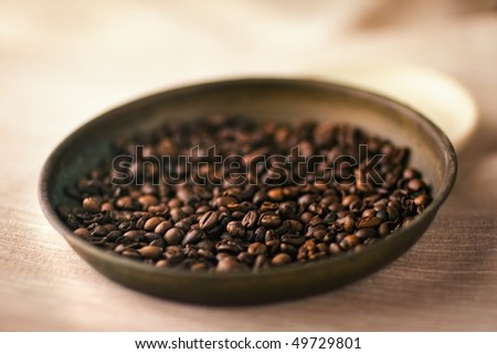 Coffee beans - Soft-focus view. - stock photo