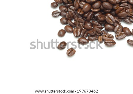 Coffee beans white background - stock photo