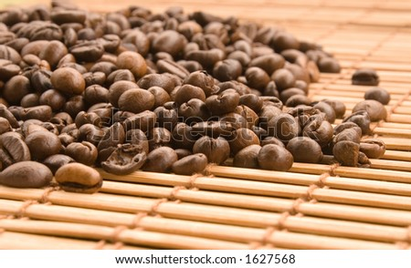 coffee beans with bamboo curtain