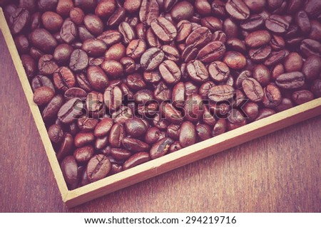 Coffee Beans with filter effect retro vintage style