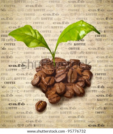 Fresh roasted coffee beans arranged shape stock photo for Green in different languages