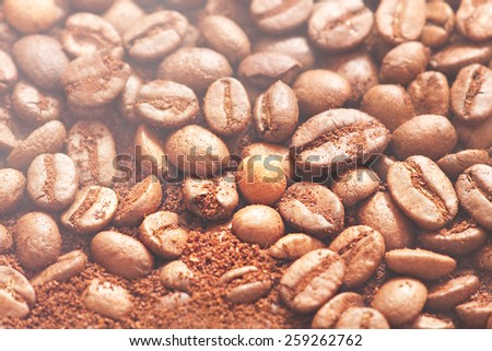 coffee beans with smoke - stock photo