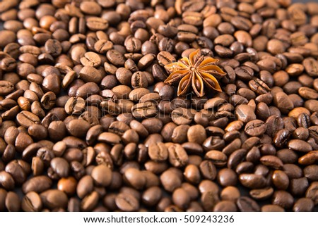 coffee beans with spices. coffee beans, star anise