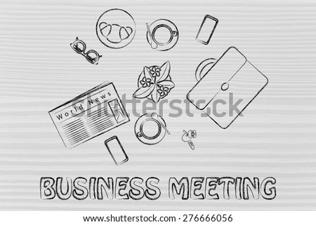 coffee break at work or business lunch with a client: table with coffee, food, briefcase and other objects