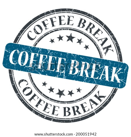 Coffee break blue round grungy stamp isolated on white background - stock photo