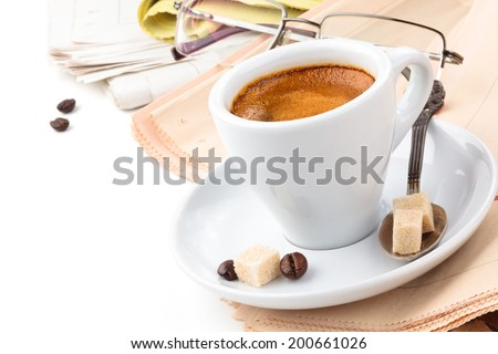 Coffee break. Coffee and newspapers on white background. - stock photo