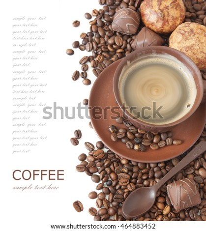 Coffee break. Coffee beans with coffee cup and spice isolated on white background