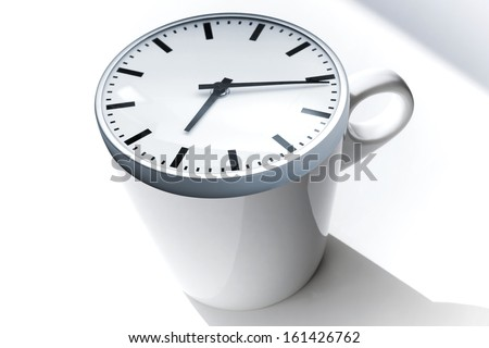Coffee break metaphor. White ceramic cup with modern clock on top - stock photo