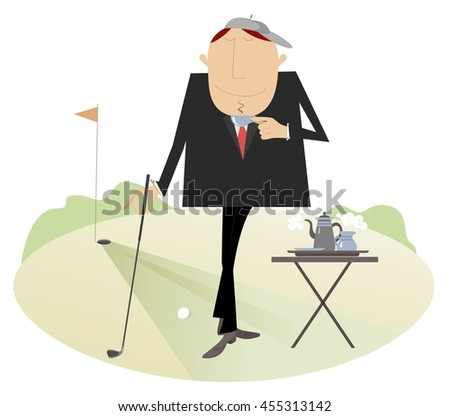 Coffee break on the golf course. Man has a cup of coffee on the golf course  - stock photo
