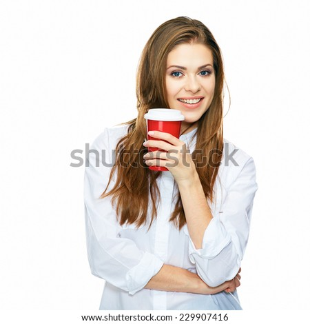 coffee break with big red cup. business woman isolated on white background studio portrait. - stock photo