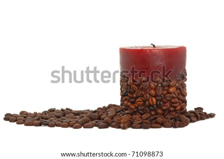coffee candle decorated with beans isolated on white - stock photo