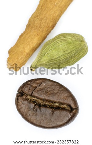 Coffee, cardamom and cinnamon  on a white background.