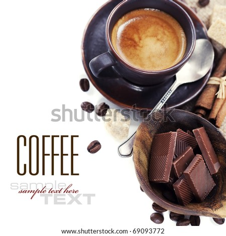 Coffee, chocolate, brown sugar and cinnamon (with sample text) - stock photo