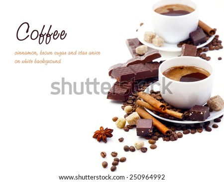 Coffee, cinnamon, brown sugar and star anise on white background - stock photo