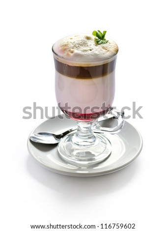 coffee cocktail with cream. isolated - stock photo