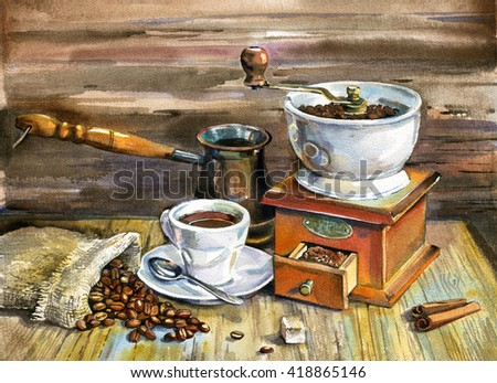 coffee, coffee cup, breakfast - stock photo
