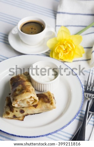 coffee, coffee Cup, Breakfast with flowers. Russian festival of pancakes