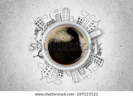Coffee. Coffee cup with clipping path - stock photo