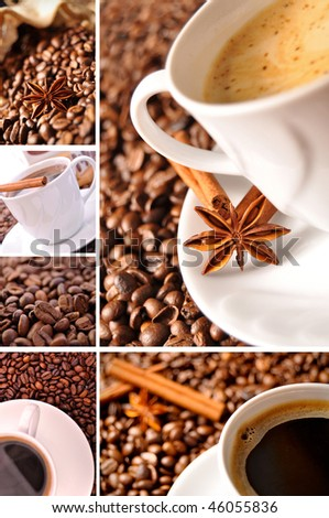 Coffee collage made of six picture - stock photo