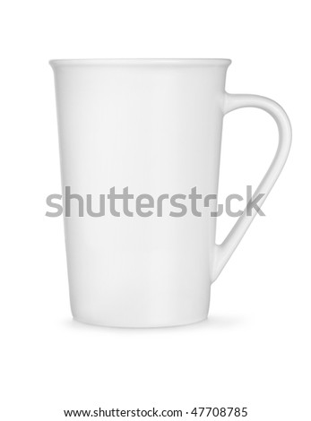 Coffee collection - High white cup. Isolated on white background.