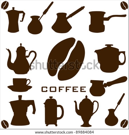 Coffee collection Raster version - stock photo