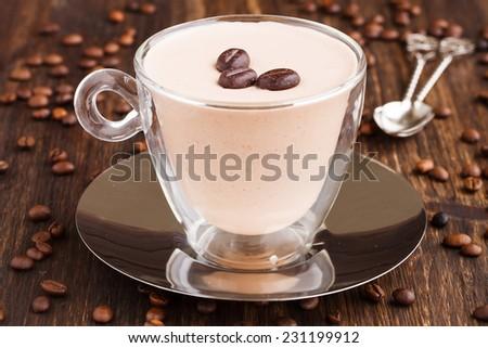 coffee cream, pannacotta,selective focus - stock photo