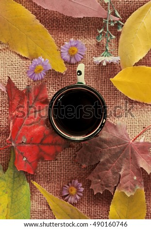 coffee cup and autumn leaf